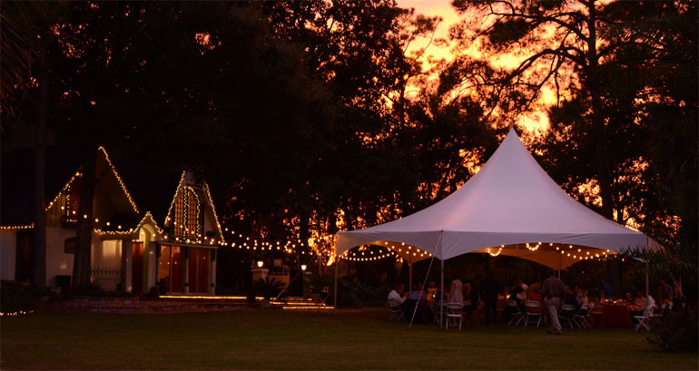 wedding tent with market lighting
